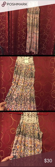 NWT Lucky Brand boho/indie maxi dress- Small Purple/cream//orange/yellow. There's a belt that can be tied in the front or back. Crochet like embroidery at the top in the front and back. Slits on both sides from the knee area down. Made in India -tag says 100% viscore (rayon?). This is a great festival dress. Tribal like print. NWT. Lucky Brand Dresses Maxi