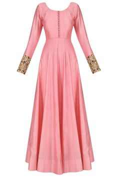 Pink anarkali set with floral embroidered dupatta available only at Pernia's Pop Up Shop. Indian Gowns, Indian Attire, Pakistani Dresses, Indian Outfits, Kurti Designs Party Wear, Kurta Designs, Blouse Designs, Stylish Dress Designs, Stylish Dresses