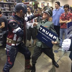 MegaCon 2016 Orlando   Captain America   Nazi   Trump sign   Now that's the right reaction!    say no to #hydracap