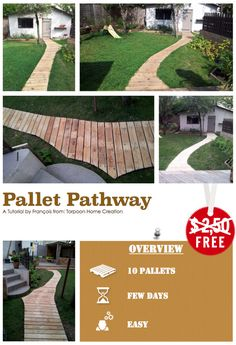 "[gallery link=""none"" columns=""5"" ids=""14908,14909,14910,14911,14912""] This tutorial by François from ""Torpoon Home Creation"" will show you how to made a pallet pathway. 10 Pallets. Approximately few days to make it. Need some skills to do it, we evaluated this project as a easy difficulty…"
