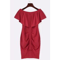 Yoins Red Off Shoulder Layered Split Bodycon Mini Dress ($18) ❤ liked on Polyvore featuring dresses, red, body con dress, short dresses, short red dress, off the shoulder bodycon dress and short bodycon dresses