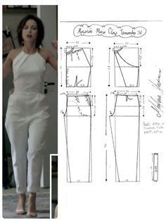 DIY - molde, corte e costura - Marlene Mukai Sewing Dress, Sewing Pants, Dress Sewing Patterns, Sewing Patterns Free, Sewing Clothes, Clothing Patterns, Diy Clothes, Jumpsuit Pattern, Pants Pattern
