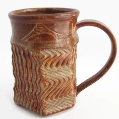 Unique Coffee Mug Handmade Creamy Brown Ceramic by ACoupleofCranes