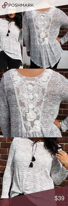 🚨CLEARANCE 🌻Hp!✨ Lace back knit top Heather grey  top has room to move in this flowy knit!  Sheer lace insert on back is feminine and romantic. No trades. Clearance-price firm. Tops Tees - Long Sleeve