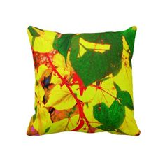 'GLOWING AUTUMN LEAVES' THROW PILLOW, by The Flying Pig Gallery on Zazzle (lizadeyphoto) - Brilliantly back-lit autumn leaves glow with colour and texture on this bright throw pillow. A perfect seasonal touch to your home decor, or great for any time of year.