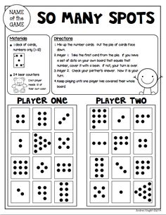"""Sample Math Game from """"Math Games for Kinder Partners"""" {20 Reproducible and Reusable Partner Games for Math Workshop, Centers, and/or Homework Fun with a Parent} 36 pages, $ #mathgames #subitizing #homework"""