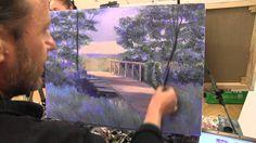 Мостик и лесной пейзаж маслом, живопись маслом. Сахаров Игорь