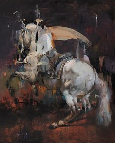 White Horse - Christian Hook recent works Paintings I Love, Animal Paintings, Horse Paintings, Horse Artwork, Christian Hook, Art Aquarelle, Horse Drawings, Sky Art, Traditional Paintings
