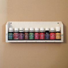 """Essential Oil Shelf with Mesh Front holds 10 fifteen ml bottles 12 1/4"""" x 5"""" $12.50"""