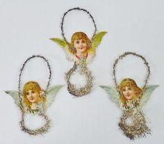 3-Antique-German-Tinsel-Garland-Die-Cut-Dresden-Angel-Christmas-Ornaments
