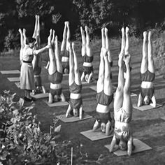 1956, group yoga class in the garden (vintage yoga style photo)…