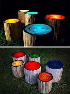 Log stools painted with glow in the dark paint ~ awesome!