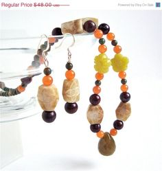 ON SALE Green jade carved jade and carnelian by sparklecityjewelry, $40.80