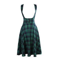 765ebff1a66 vintage 50s high waist midi swing circle green tartan plaid suspender skirt plus  size 4xl falda rockabilly overalls brace skirts-in Skirts from Women s ...