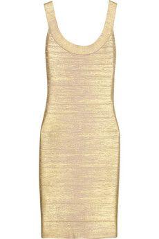 Hervé Léger Metallic coated bandage dress | THE OUTNET