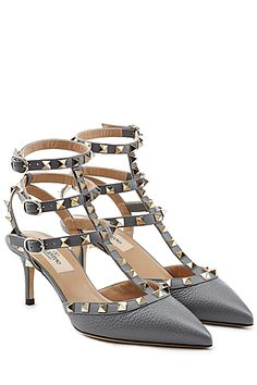 Rockstud Leather Kitten Heel Pumps - Valentino | STYLEBOP.com