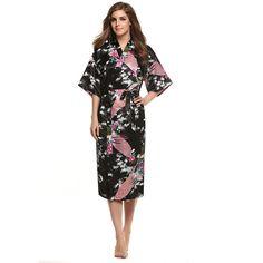Women Satin Kimono Robe Sleepwear Silk Pajama Casual Bathrobe Long Sexy Nightgown Dressing Gown Night Robes 8 Colors