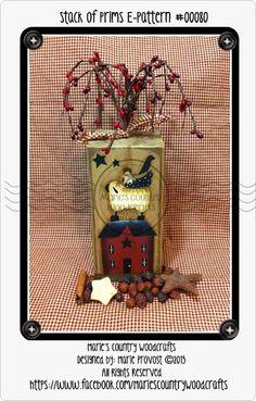 Primitive Painted Blocks   Hand painted PDF painting pattern, wood block, epattern, primitive ...