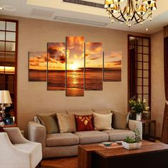 Amazon.com: Rain Queen - Sunrise From Sea Huge Size No Frame Modern Abstract Oil Paintings on Canvas Landscape Paintings Wall Art for Home Decoration 5pcs/set: Oil Paintings