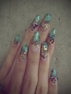 Mint green with gold accents