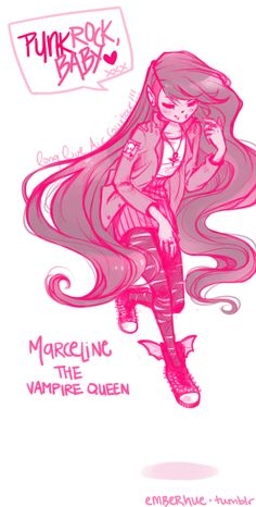 "Marceline from ""Adventure Time"". I like this fanart a lot, even though pink is not really her nor mine colour!"