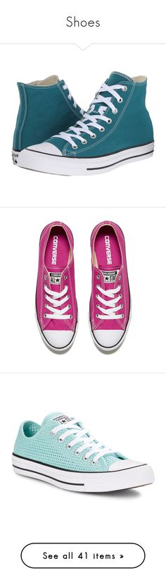 """""""Shoes"""" by tobis-the-name ❤ liked on Polyvore featuring shoes, converse, green, black and white shoes, lace up shoes, green high tops, high top shoes, star shoes, sneakers and pink"""