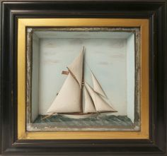 """19th Century Shadow Box of the Sailing Vessel """"Defender""""   July 2, 2016 Auction at Rafael Osona Auctions Nantucket, MA"""
