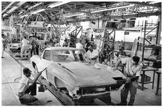 The Corvette production began in September of A dedicated band of Chevrolet employees hand-assembled several. Thankfully, someone took pictures. 1967 Corvette Stingray, Corvette C2, Chevrolet Corvette, Chevy, Pilot Car, Automobile, Assembly Line, General Motors, Sport Cars
