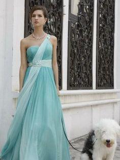Tiffany Blue one shoulder long prom dress