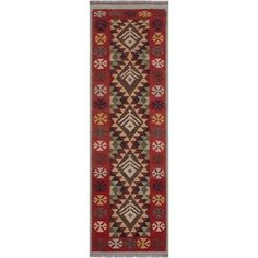 petite Kilim Johnatha Red/Beige Hand-Woven Wool Rug x - 2 ft. 9 in. X 8 ft. 0 in.