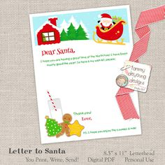 Christmas Wish List, Letter to Santa, Dear Santa Letterhead, Printable Santa note, Santa Stationery, letter template, North Pole letter by songinmyheart on Etsy