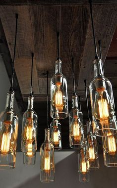 11 Wine Bottle Pendant Chandelier - Reclaimed Wood Wine Bottle Chandelier - Dining Room Lighting, Wine Bar Lighting, Restaurant Lighting - Eleven wine bottle pendant chandeliers with an old wood base. One of a kind designed exclusively by -