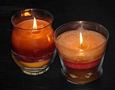 DIY recycling the wax from the candle jars that dont stay lit anymore, add them all together to form another layered candle - very simple!!!