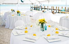 blue vases, orange flowers? Photography by Robert Rios Photography / weddings.robertrios.com