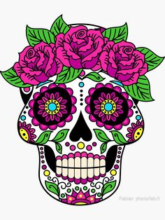 'Sugar skull' Sticker by peaceful-art Sugar Skull Tattoos, Sugar Skull Art, Sugar Skulls, Sugar Skull Images, Sugar Skull Design, Candy Skulls, Calaveras Mexicanas Tattoo, Caveira Mexicana Tattoo, Sticker Transparent