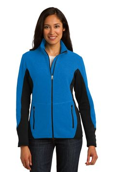 Port Authority Ladies R-Tek Pro Fleece Full-Zip Jacket. L227 Imperial Blue/ Black