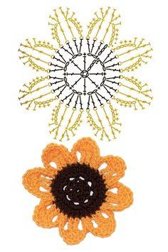 No.45 Miniature SunFlower Crochet Flower Motifs / 미니 선플라워 코바늘 플라워 모티브도안