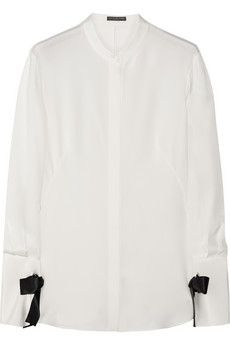 Alexander McQueen Bow-embellished silk blouse | NET-A-PORTER