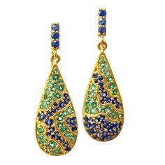 Lauren Harper Asymmetrical Emerald Blue Sapphire Matte Gold Pear Drop Earring   From a unique collection of vintage dangle earrings at https://www.1stdibs.com/jewelry/earrings/dangle-earrings/