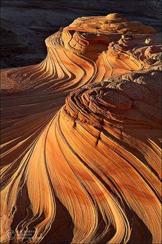 "Ribbons in the earth, or ""The Wave,"" Arizona. Excellent example of wind erosion, graded bedding."