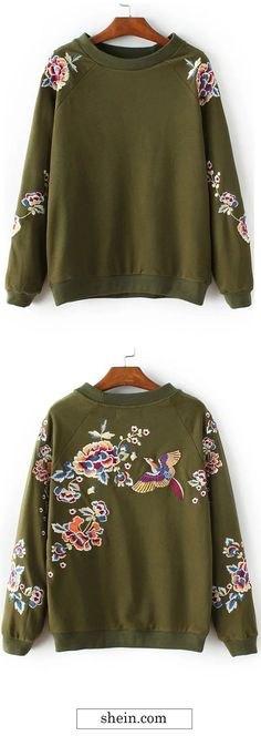 Army Green Floral Embroidery Crew Neck Sweatshirt