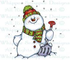 Shoveling Snowman - Snowmen Images - Snowmen - Rubber Stamps - Shop