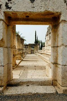 Ruinas de la sinagoga de Capernaum, Tierra de Israel.