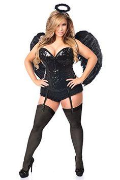 Daisy Corsets Women's Plus-Size Top Drawer 4 Piece Sequin Dark Angel Corset Costume