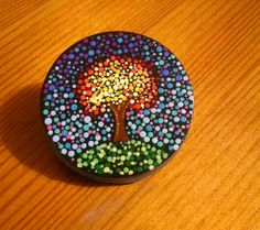Fall Tree Painted on Stone~ Colorful Dot Art ~ Autumn Leaves~ Home Decor~ OriginalPointillism Design Ornament by P4MirandaPitrone on Etsy