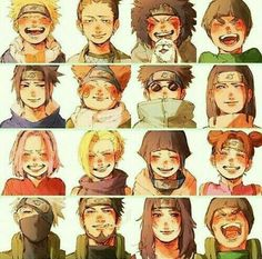 Team 7, Naruto, Sakura, Sasuke, Kakashi, Team 10, Shikamaru, Ino, Choji, Asuma, Team 8, Kiba, Akamaru, Shino, Hinata, Kurenai, Team Guy, Rock Lee, Neji, Tenten, Might Guy, smiling; Naruto