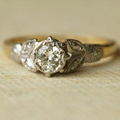 Vintage Wedding Ring, Vintage 9k Gold Engagement Ring 1940's