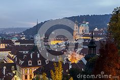 Scenic Autumn ,View To The Old Town At Night, Czech Republic. Stock Image - Image of medieval, europe: 78842191 Czech Republic, Prague, Old Town, Medieval, Old Things, Europe, Autumn, Stock Photos, Seasons