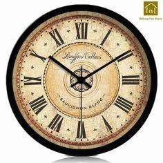 Retro Wooden European Style Wall Clock Mate Quartz Waterproof Wall Clock Wedding Decoration Temporizador Vintage Clocks From China Clock Tattoo Design, Wall Clock Design, Clock Art, Diy Clock, Wall Clocks, Clock Ideas, Clock Decor, Antique Clocks, Vintage Clocks