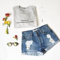 Who are you? #subdued #subduedstyle #OOTD #sweatshirt #denimshorts #newcollection